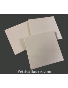 Carreau faience émaillé uni blanc créme craquelé (comme les anciens) 15 x 15 cm épaisseur 0.6 cm
