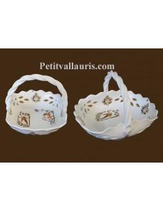 Panier à fruits ajouré en faience blanche reproduction décor Tradition polychrome Diamètre 26 cm