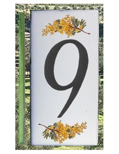 Numero de rue chiffre 9 décor brins de mimosas