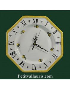 Horloge-pendule octogonale murale en faïence blanche décor les oranges