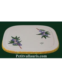 Dessous de plat en faience de forme carrée au décor artisanal Olives bleues