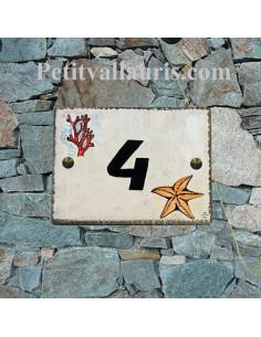 plaque de maison céramique décor étoile de mer et corail + inscription personnalisée couleur bleue