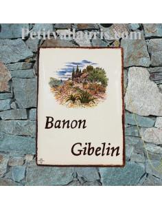 plaque de maison en céramique émaillée décor cabanon et olivier +inscription personnalisée pourpre