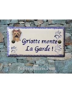 Plaque rectangulaire de maison en céramique motif yorkshire + inscription personnalisée