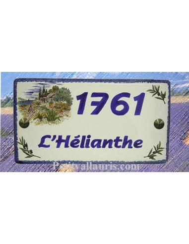 Plaque de Maison rectangle en céramique décor cabanon et olivier + inscription personnalisée et bord bleu