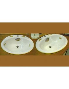 Vasque ovale en porcelaine blanche à encastrer motif provençal brins de mimosas Provençal