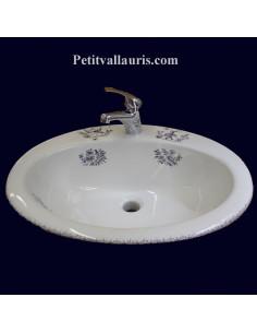 Vasque ovale en porcelaine blanche à encastrer décor reproduction Tradition Vieux Moustiers bleu