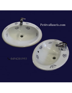 Vasque ovale en porcelaine blanche à encastrer décor bouquets de fleurs tradition bleu