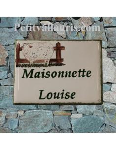Plaque de maison en faïence émaillée motif artisanal Brebis + inscription personnalisée