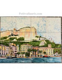Fresque murale sur carrelage en faience motif artisanal paysage port de Bonifacio