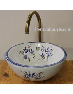 Petite Vasque bol ronde à poser en porcelaine blanche décor artisanal fleurs bleues