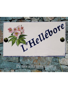 Plaque en céramique pour entrée de Maison modèle rectangle décor fleurs hellébores avec gravure personnalisée