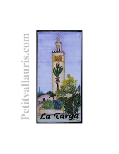 Plaque de Maison en céramique émaillée décor artisanal minaret afrique du nord + inscription personnalisée