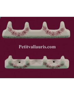 Accroche torchon de cuisine en faience 4 crochets décor fleurs Tradition roses