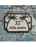 Plaque de Maison en céramique aux angles incurvés motif artisanal les 2 palmiers-cocotiers + inscription personnalisée