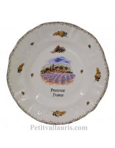 Assiette murale en faience modèle Louis XV décor champs de lavande + brins de mimosas avec inscription possible