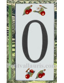 Numero de rue chiffre 0 décor cerises