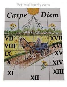 Cadran solaire en faïence décoratif décor artisanal charetier et fleurs de colza avec gravure personnalisée