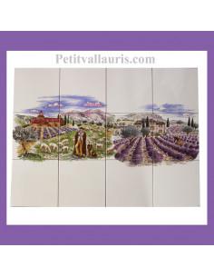 Grande fresque sur carreaux de couleur blancs cassés décor champs de lavande et berger 60 x 80 cm