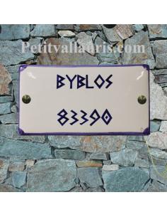 Plaque de Maison en céramique émaillée rectangle avec inscription personnalisée et bord bleu