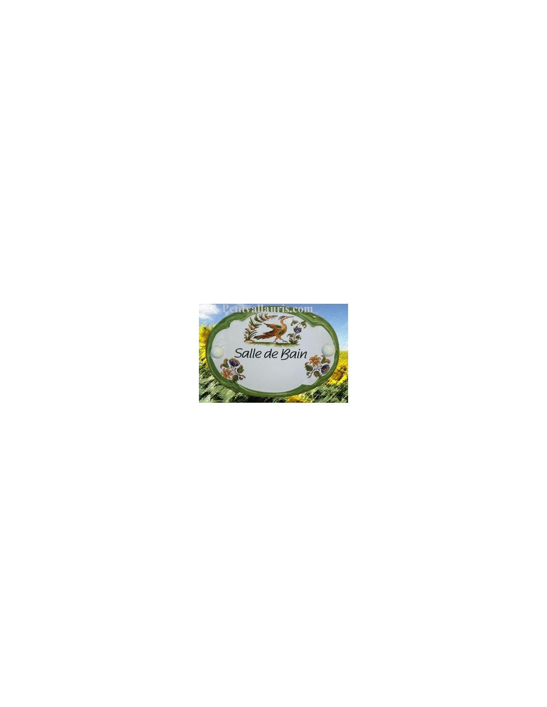 Plaque ovale sdb d cor tradition vieux moustiers for Plaque de porte salle de bain