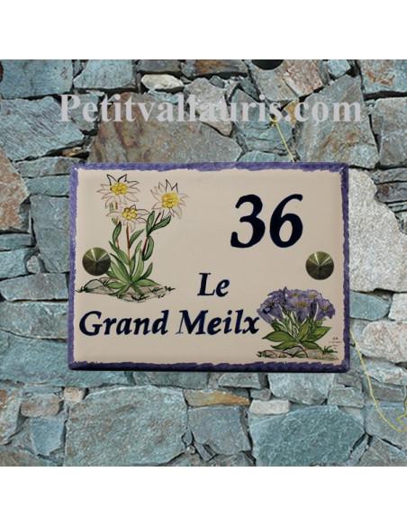 plaque de maison céramique décor fleurs les edelweiss et gentianes + inscription personnalisée
