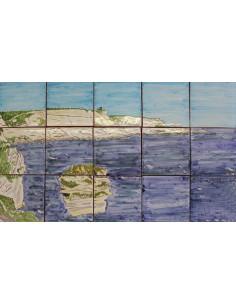Fresque murale sur carreaux de faience décor artisanal modèle falaise de Bonifacio 30x50