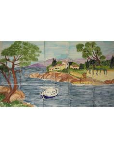 Fresque murale sur carreaux de faience décor artisanal modèle Voilier et Calanque 45x75