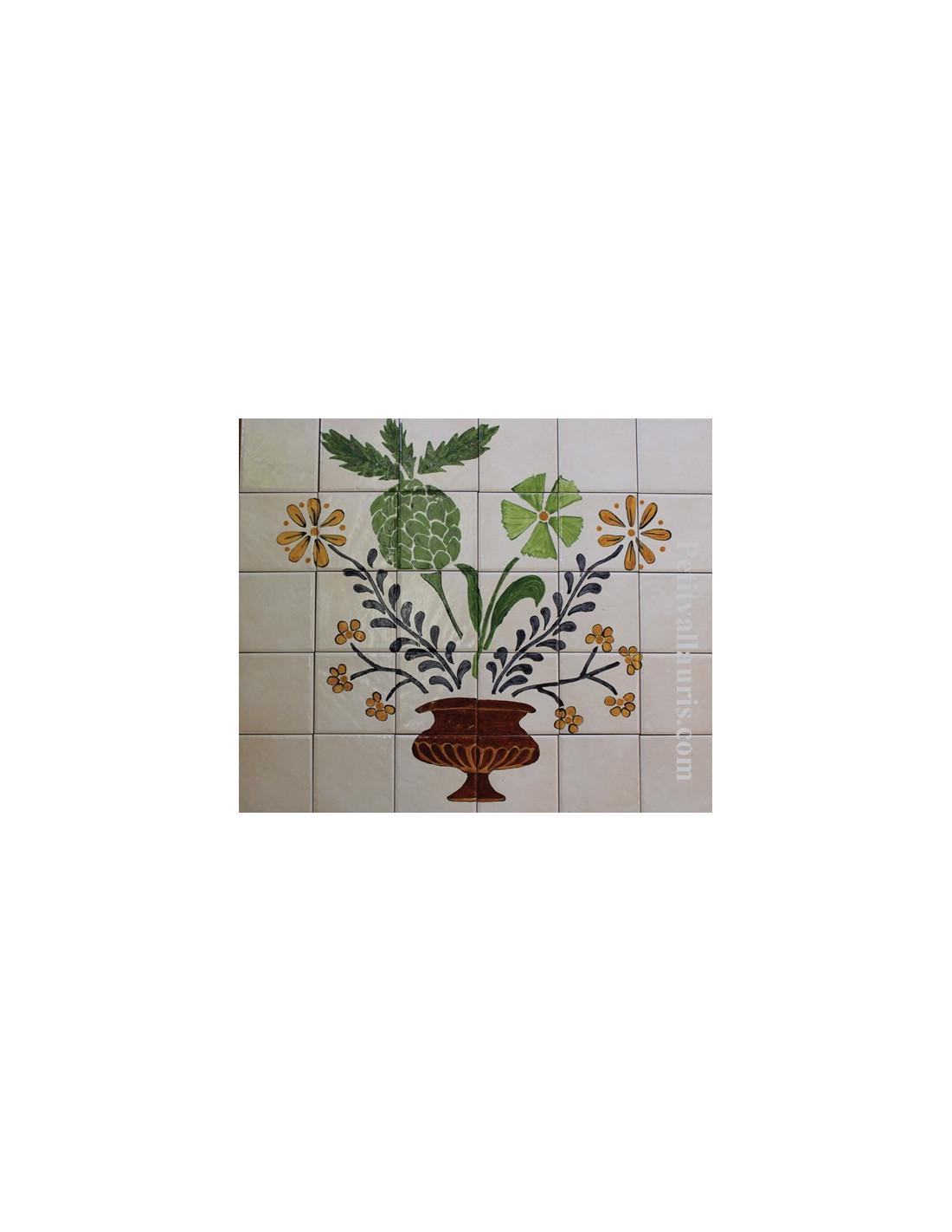fresque murale sur carreaux de faience d cor artisanal mod le naif pot et fleur 50x60 le petit. Black Bedroom Furniture Sets. Home Design Ideas
