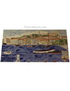 Fresque murale sur carreaux de faience décor artisanal modèle vieux port de Cannes-Le Suquet 60 x 120