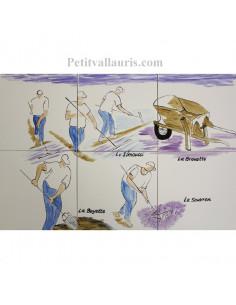Fresque murale sur carreaux de faience décor artisanal modèle ramasseurs de sel 40x60