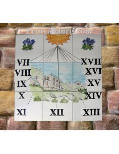 Cadran solaire décoratif sur carreaux de faïence décor artisanal paysage de Montagne