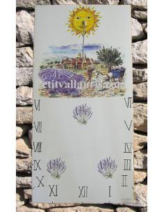 Cadran solaire en faïence décoratif sur grande plaque décor Champs de Lavande 20x40