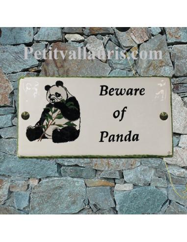 Grande plaque d'habitation en céramique émaillée décor le panda+ inscriptions personnalisée