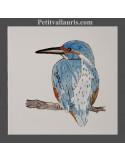 Carreau mural en faience blanche collection oiseaux avec motif artisanal Martin pêcheur