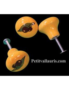 Bouton de tiroir en porcelaine décor cerises sur fond jaune provençal (diamètre 30 mm)