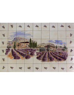 Fresque murale décor champs et récolte des lavandes + frise brins de lavandes taille 90x60