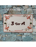 Plaque de Villa en céramique modèle rectangle motif artisanal fleurs rouges aux angles + inscription personnalisée