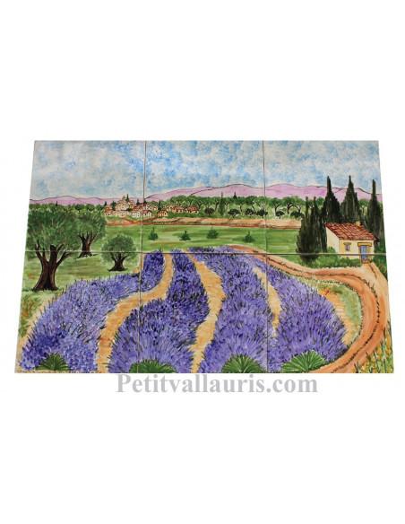 Fresque murale sur carreaux de faience décor artisanal modèle Village + champs oliviers et lavandes 60x40