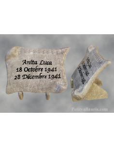 Plaque funéraire céramique modèle petit parchemin à poser sur une tombe fond moucheté gris