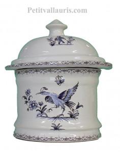 Pot de Salle de bain et à coton en faience blanche reproduction Tradition bleu