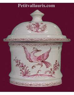 Pot de Salle de bain et à coton en faience blanche reproduction Tradition rose
