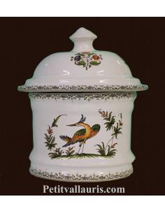 Pot de Salle de bain et à coton en faience blanche reproduction Tradition polychrome