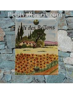 Plaque de maison émaillée motif artisanal bastide et champs de tournesols + inscription personnalisée