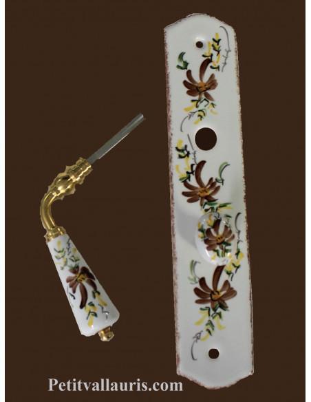 Plaque de propreté avec poignée en porcelaine modèle avec verrou motif artisanal fleuri marron