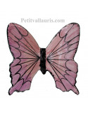 Papillon en céramique à suspendre couleurs camaieux de rose