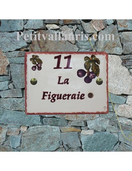 Plaque de maison en céramique pré percée pour sonnette avec gravure nom et (ou) chiffre personnalisés motif figues