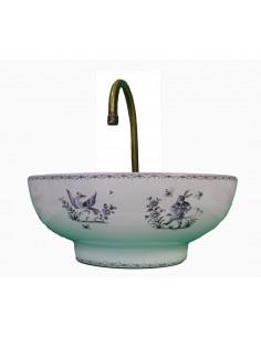 Vasque bol ronde en porcelaine blanche reproduction décor Tradition Vieux Moustiers bleu