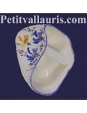 """Dérouleur """"ouvert"""" de papier toilette en céramique motif artisanal fleurs jaunes et bleues"""