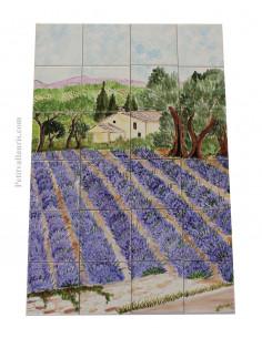 Fresque murale sur carreaux de faience décor artisanal modèle Bastide et champs de lavandes 60x40